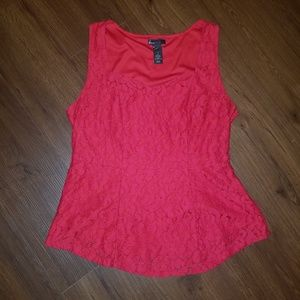 Lane Bryant Red Lace Peplum Top